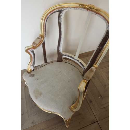 47 - 19th C French style armchair frame, with upholstered seat and cream & gilt painted frame, with furth...