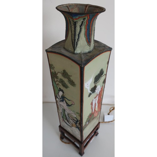 36 - Early 20th C Chinese painted table lamp with tapering square body and hard wood stand and painted si...
