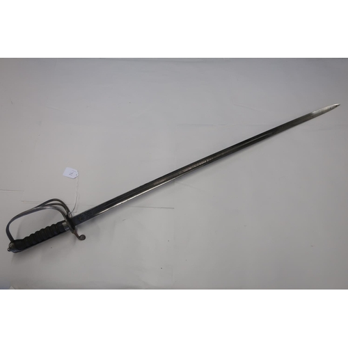 30 - George V Artillery officers sword with 34 inch straight single fullered blade with engraved detail i...