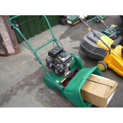 23 - Allett Classic petrol lawn mower with a scarifier attachment...