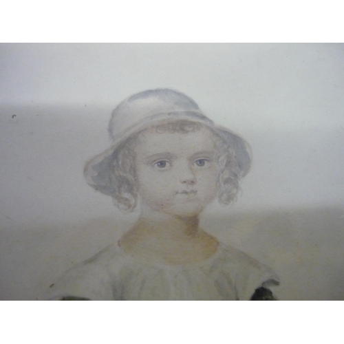 26 - Early 19th C study of a young girl with a blue ribbon, watercolour, in rosewood frame (35cm x 40cm i...