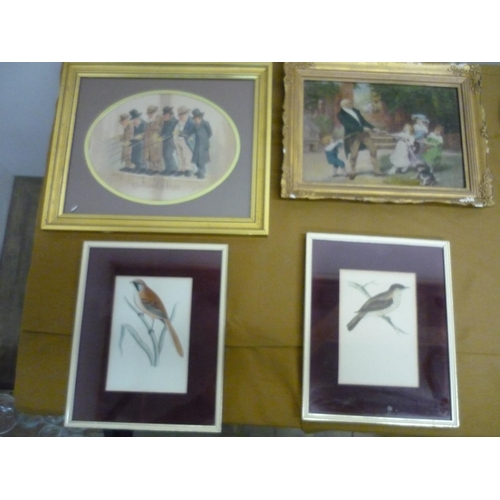 27 - Gilt framed Crystoleum, framed print The Band Of Hope, and a pair of framed & mounted bird prints of...