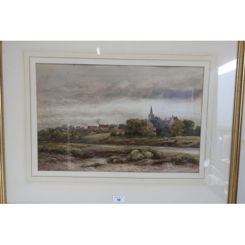 10 - English school early 20th C, an extensive river landscape with cows, a church beyond, watercolour, i...