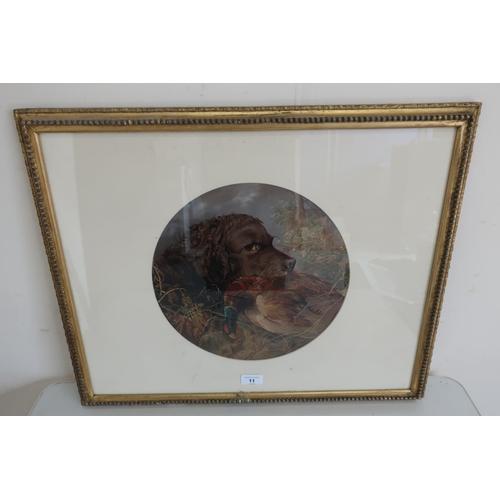 11 - After Landseer, Retriever with a Pheasant, colour print, circular (30cm)...