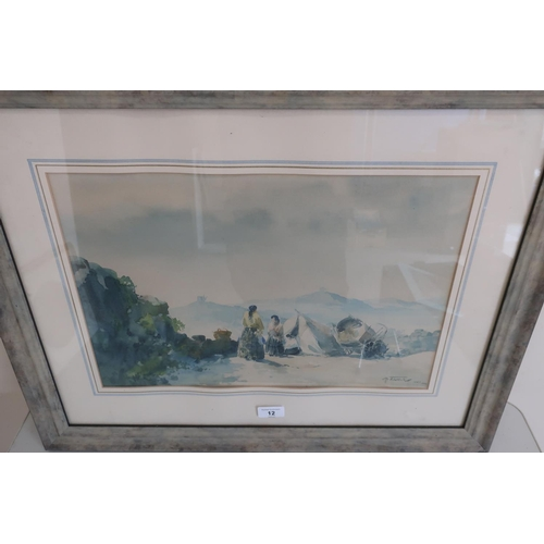 12 - M Tavaris,  The Gypsy Encampment, watercolour, signed and dated 1961 (65 x 52 cm including frame)...