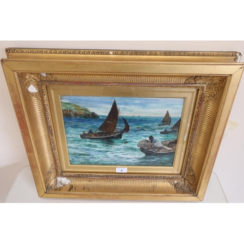 4 - John R Reid R I, Fowey fishing boats and lobster fisherman off the coast, watercolour, signed and da...