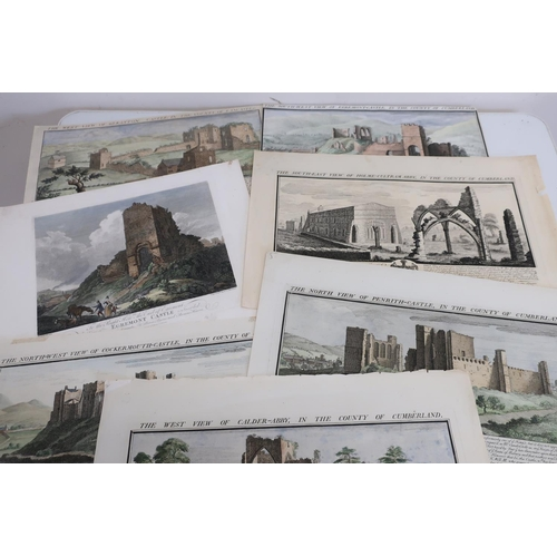 17 - Collection of hand coloured 18th C views of North country castles by Samuel and Nathaniel Buck, the ...