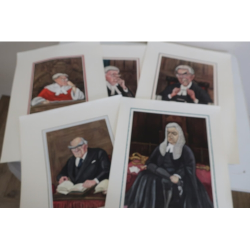 24 - Set of twelve prints after Sallon depicting High Court judges c.1960s, published by Butterworth & Co...