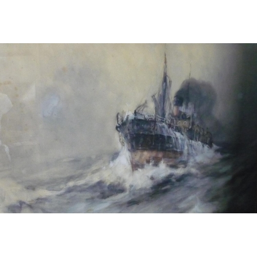 2 - Frank Henry Mason, steam ship labouring in a stormy sea, watercolour, signed Frank H Mason and dated...