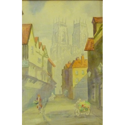 29 - V. Gibson, Market Place Helmsley and The Shambles York, watercolour, both signed (26cm x 37cm)...