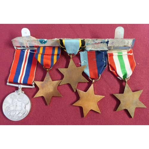 1 - WWII group of medals comprising of 39-45 Star, Italy Star, Aircrew Europe Star, Burma Star and 39-45...