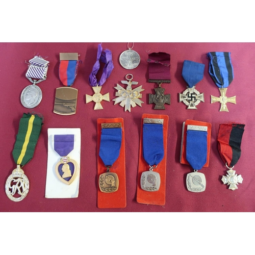 2 - Collection of various assorted, mostly reproduction, German and British military medals, various Oly...