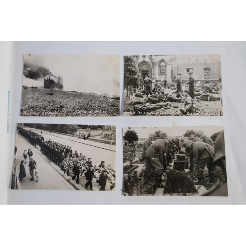 7 - Album containing a selection of German WWII period military photographs including various damaged ta...
