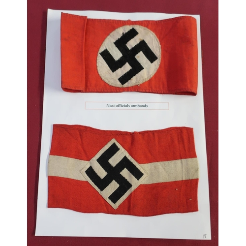 8 - German WWII Swastika car pennant, two similar armbands and two embroidered lapel badges (retrieved f...