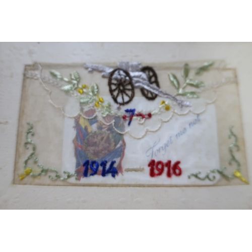 17 - Framed and mounted display of five WWI period embroidered postcards (49.5cm x 35.5cm)...
