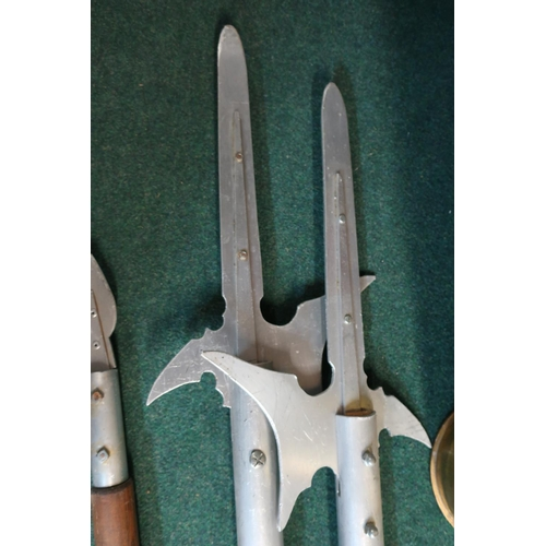 24 - Pair of reenactors style aluminium and wood shafted halberds, two similar spears and two other decor...