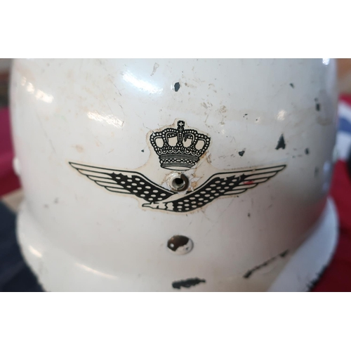 36 - Classic copy of a WWII  period air raid warden helmet, American style white helmet with leather line...