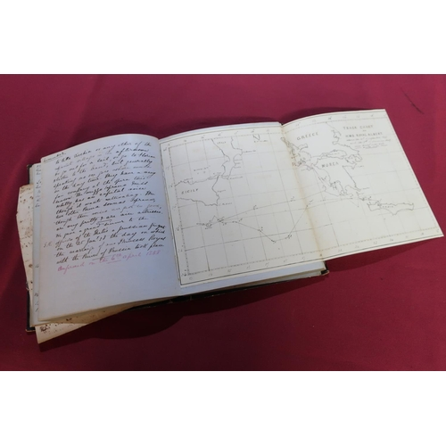 47 - Half leather bound handwritten private journal of Thomas Clayton esquire Royal Navy of HMS Royal Alb...