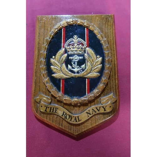 35 - Royal Navy oak wall shield with brass plaque to the rear marked 'The Memory Of My Son Ralph. H Lanca...