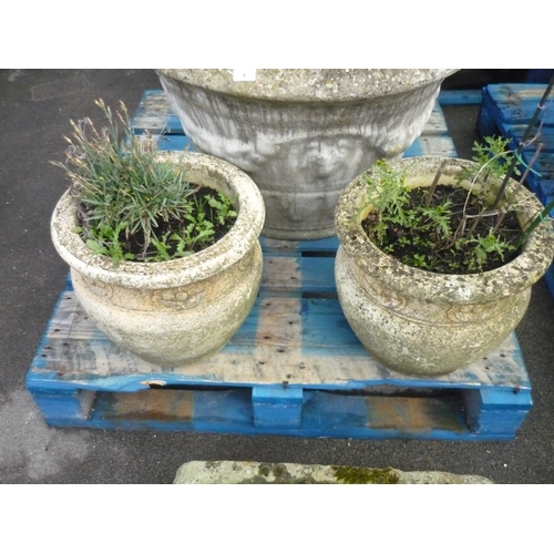 3 - Pair of reconstituted stone planters with flower design (15