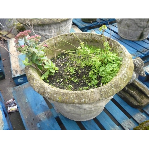 7 - Large reconstituted stone planter with fruiting vine decoration (diameter 31.5