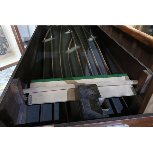 348 - Bar Billiards table with green baise top, mushrooms balls, cues and table brush with an E.A.A Stock ...