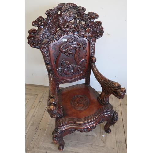 149 - Chinese throne chair, arched back carved with three toed dragon in panel, carved arms and serpentine...