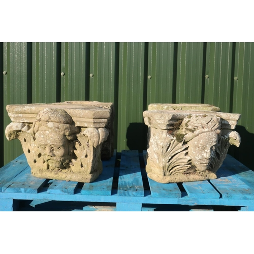 298a - A set of four carved sandstone corbels `the four seasons' two of female faces and the other two male...