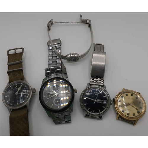 377 - Selection of various wristwatches including Timex automatic in gold plated case, another with day da...