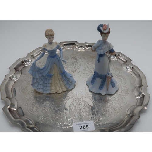 378 - Pair of Coalport figures, Alexandra and Victoria  and a EPNS circular tray (31cm) with Chippendale s...