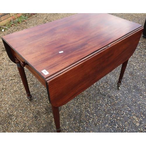 256 - 19th C mahogany dropleaf Pembroke style table with single drawer to one end and faux drawer to the o...