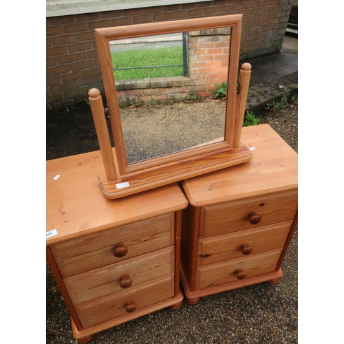 258 - Pair of modern pine three door bedside chests, on turned supports, and a pine free standing dressing...