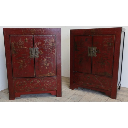 92 - Pair of Shan Shi elm red lacquered two door side cabinets, decorated in gilt with fighting figures a...