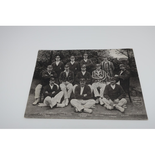 2 - Large postcard of Yorkshire County Cricket Team, black and white photo printed by Delittle, Fenwick ...