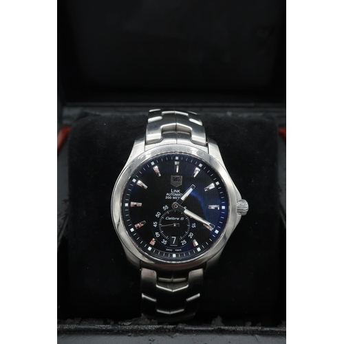 51 - Gents Tag Heuer Link Automatic 200 stainless steel wrist watch, with baton numerals, date and subsid...
