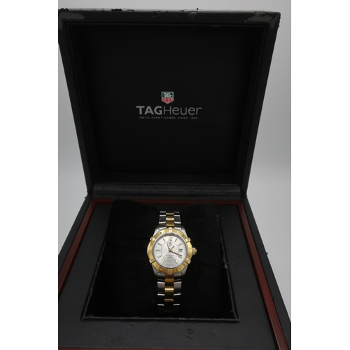 52 - Ladies Tag Heuer Aquaracer 300 bi-metal quartz wrist watch, with baton numerals and date, on bracele...