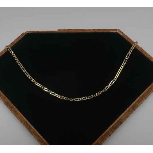 58 - Gold flattened curb link necklace stamped 750, 59cm, 22.6g...