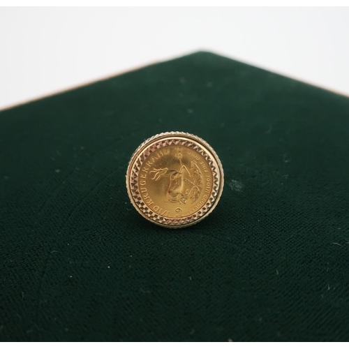 59 - 1/10 Krugerrand in 9ct gold hallmarked ring mount 6.9g...