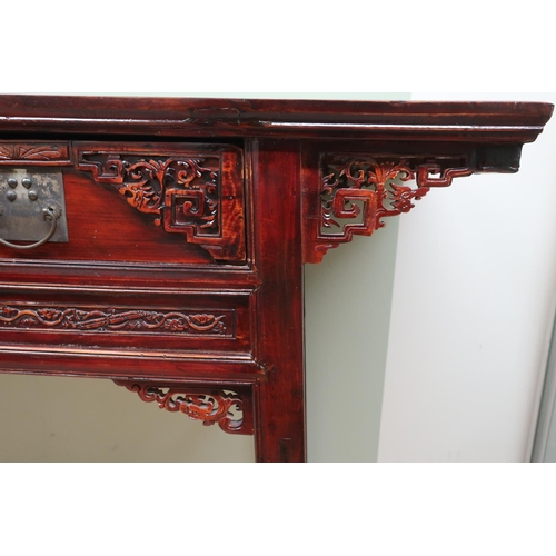 93 - Chinese altar table, overhanging top with two drawers with carved detail above similar frieze on squ...