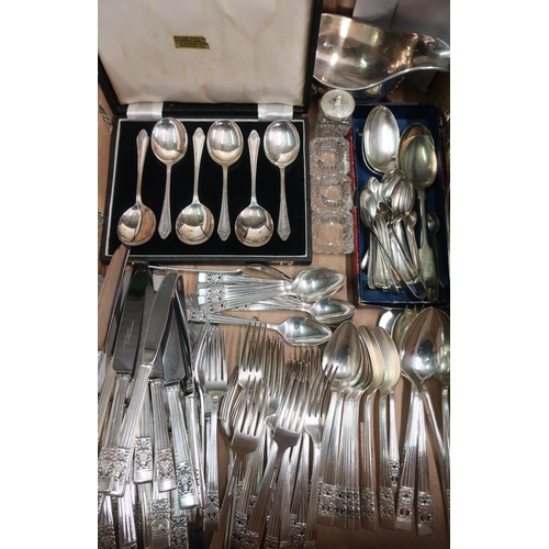 37 - Collection of Community stainless steel cutlery plate approx 70pcs, set of EPNS soup spoons in case,...