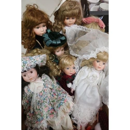 46 - Collection of bisque head fashion and character dolls including a bride (9)...