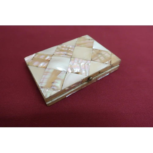 10 - Victorian Mother of Pearl rectangular calling card case, fitted interior with 12 compartments (10.5c...