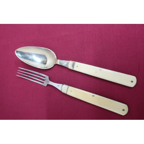 13 - Late Victorian Campaign steel folding fork and spoon with ivory handles (2)...