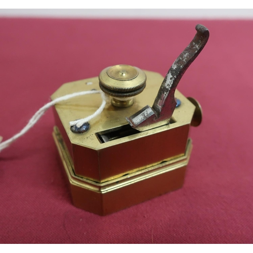 15 - Victorian brass scarifier with steel blades and handle, stamped A, in red leather box (height 6.25cm...