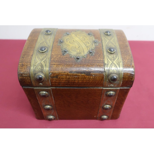 22 - Late Victorian oak correspondence box, brass strap work & cartouche decorated with cabachon, with si...
