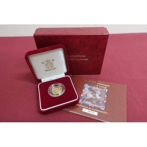 23 - 2004 UK Royal Mint gold proof half sovereign, in plastic case, display case and box with COA no. 047...