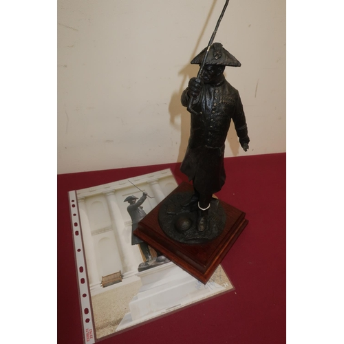 24 - The In-Pensioner, bronzed model after Philip Jackson, standing figure with raised cane  on square wo...