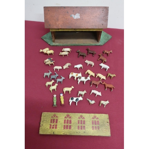 26 - Early 20th C naïve painted Noah's Ark, and a collection of carved wooden and painted animals (57cm x...