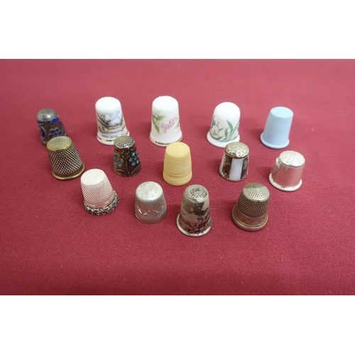 6 - Collection of thimbles incl. five silver hallmarked, three bone china, etc (14)...