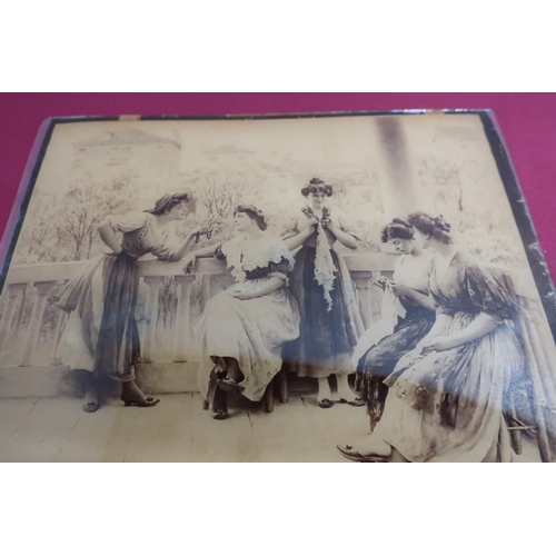 7 - Two crystoleum studies of young ladies (20cm x 27cm) (2)...